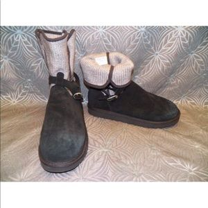 New Womens UGG Nyla Black Sweater Knit Suede Boot